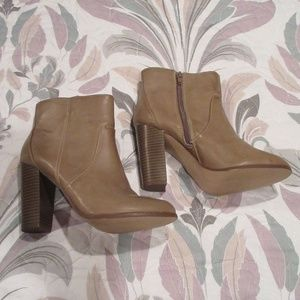 Taupe booties.